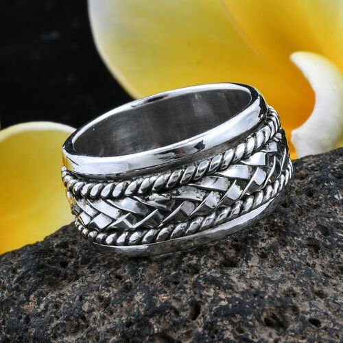 Royal Bali Collection Sterling Silver Spinner Band Ring, Silver wt 9.39 Gms.