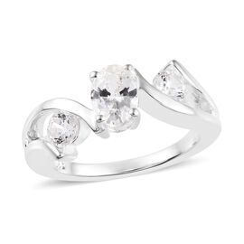 J Francis - Sterling Silver (Ovl and Rnd) Fancy Ring (Size L) Made with SWAROVSKI ZIRCONIA