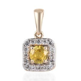 9K Yellow Gold AA Yellow Sapphire (Rnd), Natural Cambodian Zircon  Pendant 0.65 Ct.