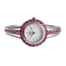 EON Swiss Movement African Ruby, Natural Cambodian Zircon Water Res. Adjustable Bangle Watch (Size 7