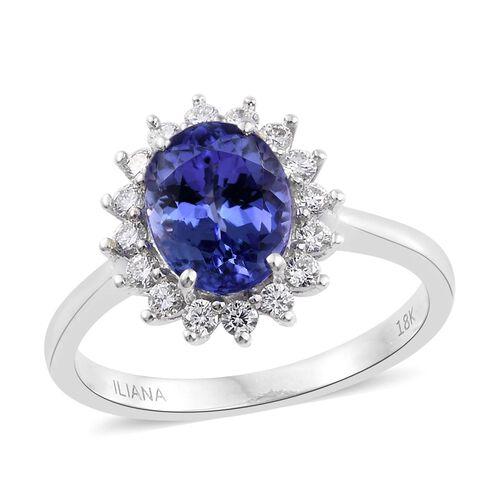 ILIANA 18K White Gold 2.35 Ct. AAA Tanzanite Halo Ring with Diamond (SI/G-H)