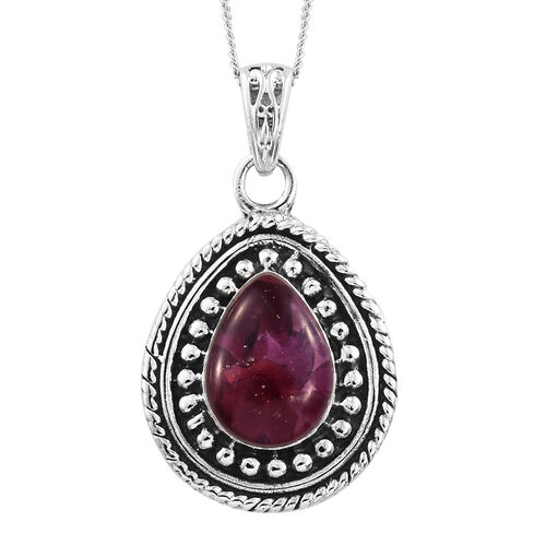 Rhodolite Garnet Pendant with Chain in Sterling Silver 2.570 Ct. Silver wt. 6.15 Gms.