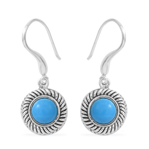 Blue Turquoise Hook Earrings in Black Oxidised Sterling Silver 1.600 Ct, Silver wt 5.08 Gms.