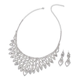 2 Piece Set - White Austrian Crystal (Rnd) Necklace (Size 17 with 5 inch Extender) and Earrings (wit