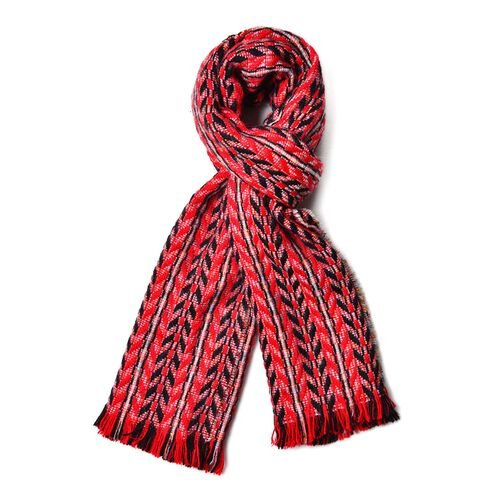 Designer Inspired Red, Black and Multi Colour Leaf Pattern Knitted Shawl with Fringes (Size 185X60 Cm)