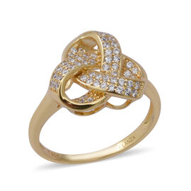 ELANZA Simulated Diamond (Rnd) Triple Knot Ring in Yellow Gold Overlay Sterling Silver