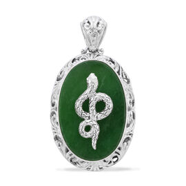 Royal Bali Collection - Green Jade Serpent Pendant in Sterling Silver 21.00 Ct, Silver wt. 10.00 Gms