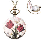 STRADA Japanese Movement Lily Pattern Pocket Watch with Chain (Size 31) in Antique Bronze Tone