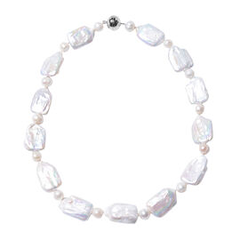 Freshwater White Pearl and Baroque White Pearl Necklace (Size 18) in Rhodium Overlay Sterling Silver