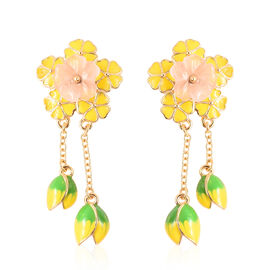 Jardin Collection - Rose Quartz Enamelled Floral Dangle Earrings in Yellow Gold Overlay Sterling Sil