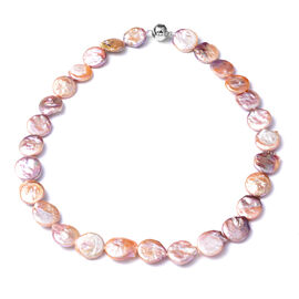 Multi Colour Baroque Pearl Necklace (Size 20) in Rhodium Overlay Sterling Silver