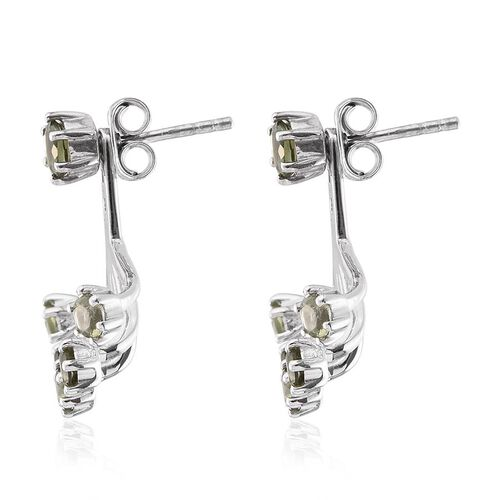 Bohemian Moldavite (Rnd) Jacket Earrings (with Push Back) in Platinum Overlay Sterling Silver 1.400 Ct.