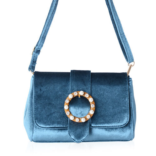 LUXE VELVET Royal Blue Cross Body Bag with Glass Pearl Pendant and Adjustable Shoulder Strap (24x16x9 cm)