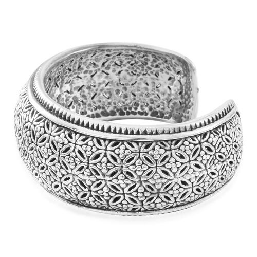Close Out Deal-Sterling Silver Floral Cuff Bangle (Size 7.5), Silver wt. 38.00 Gms.