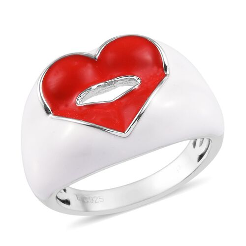 GP Blue Sapphire Enamelled Lips Ring in Platinum Plated Sterling Silver