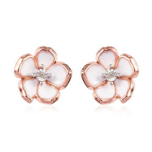 Designer inspired - Diamond (Rnd) Floral Enamelled Earrings (with Push Back) in Rose Gold Overlay St