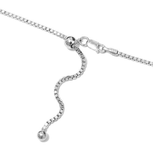 Limited Edition- Designer Inspired Blue Diamond (Rnd) Multi Drop Adjustable Necklace (Size 20) in Platinum Overlay with Black and Blue Plating Sterling Silver 1.050 Ct, Silver wt 20.00 Gms.