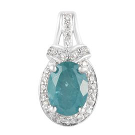 Grandidierite and Natural Cambodian Zircon Pendant in Platinum Overlay Sterling Silver 1.53 Ct.
