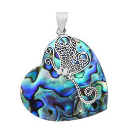 Royal Bali Collection - Abalone Shell Heart Pendant in Sterling Silver