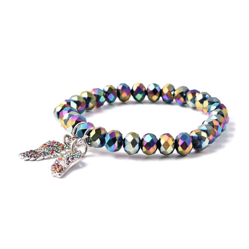 Simulated Mystic Topaz and Multi Colour Austrian Crystal Angel-Wing Charm Stretchable Bracelet (Size 6.5) in Silver Tone