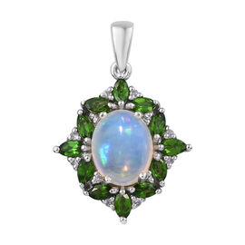 2.50 Carat Ethiopian Opal and Multi Gemstones Halo Pendant in Platinum Plated Sterling Silver