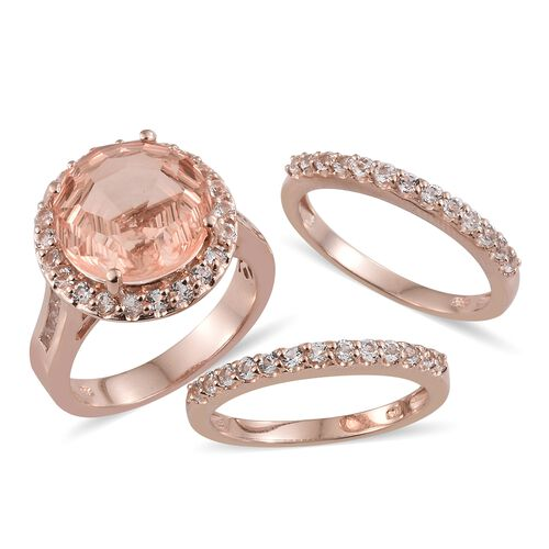 Laser Cut Galileia Blush Quartz (Rnd 14mm, 10.30 Ct), White Topaz Ring in Rose Gold Overlay Sterling Silver 13.000 Ct. Silver wt 11.12 Gms.