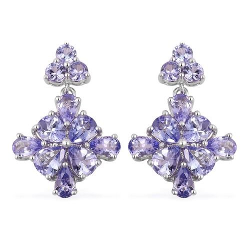 Tanzanite (Pear and Rnd) Earrings (with Push Back) in Platinum Overlay Sterling Silver 4.660 Ct.