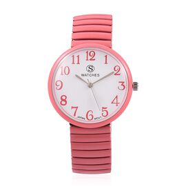 STRADA Japanese Movement Water Resistant Stretchable Watch with Dusty Pink Colour Strap