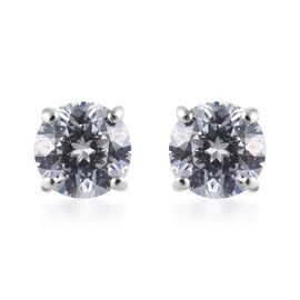 J Francis - Platinum Overlay Sterling Silver (Rnd) Stud Earrings (with Push Back) 2.9 Ct.