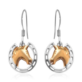 Platinum and Yellow Gold Overlay Sterling Silver Horseshoe with Center Horse Hook Earrings