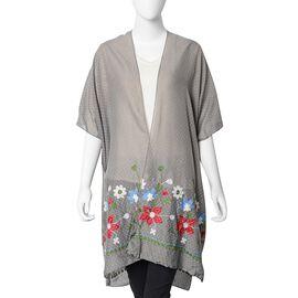 Floral Embroidery Kimono with Dot Pattern (Size 90x90 Cm) - Dark Grey Colour