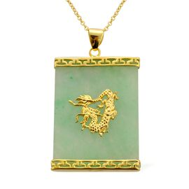 Green Jade Dragon Pendant with Chain in 14K Gold Overlay Sterling Silver 34.800 Ct.