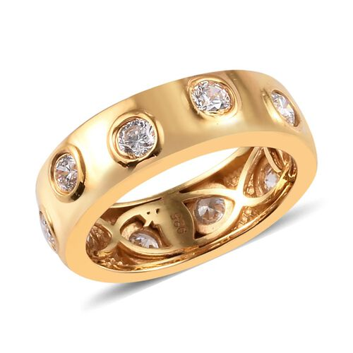 J Francis - 14K Gold Overlay Sterling Silver Band Ring Made with SWAROVSKI ZIRCONIA 2.00 Ct.