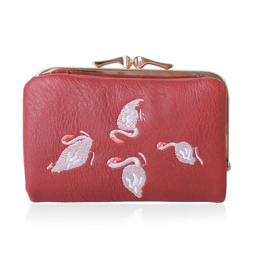 Red and White Colour Swan Embroidered Ladies Wallet (Size 13x8.5x2.5 Cm)