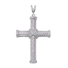 1.15 Ct Natural White Cambodian Zircon Cross Pendant in Rhodium Plated Silver 5.45 grams