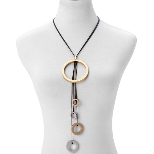 Handcrafted Circle Charms Adjustable Necklace (Size 32) in Dual Tone