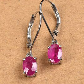 RHAPSODY 950 Platinum Burmese Ruby Earrings 1.65 Ct.