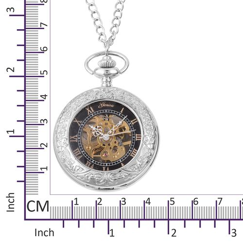 GENOA Automatic Skeleton Water Resistant Ornate Pattern Pocket Watch with Chain in SilverTone