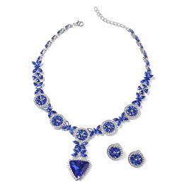 2 Pcs Set Blue Glass and White Crystal Necklace and Stud Earring 18 Inch