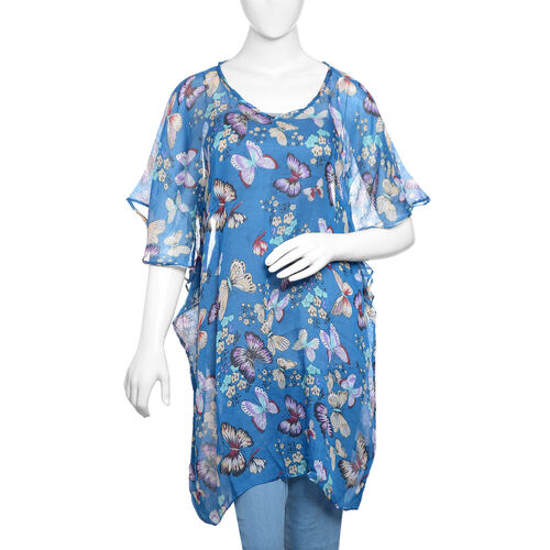 Designer Inspired- Blue and Multi Colour Flower and Butterfly Pattern 100% Modal Kaftan (Free Size)