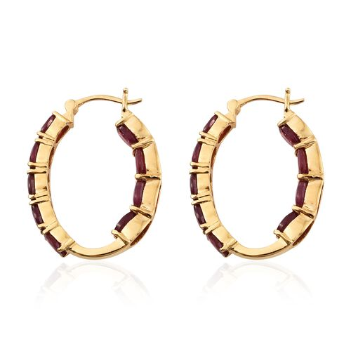 African Ruby (Ovl) Hoop Earrings (with Clasp) in 14K Gold Overlay Sterling Silver 12.000 Ct. Silver wt 6.88 Gms.