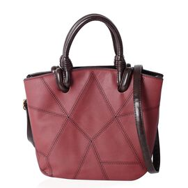 Burgundy Multi Compartments Easy Carry Tote Handbag  (Size 30x13x24x21 Cm)