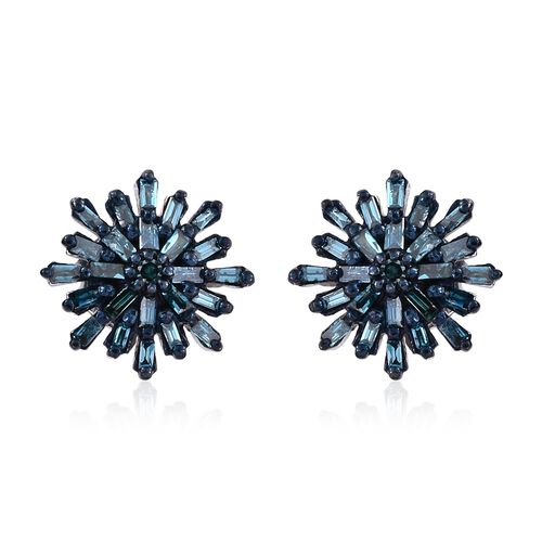 Blue Diamond (Rnd and Bgt) Starburst Stud Earrings (with Push Back) in Platinum Overlay Sterling Silver 0.330 Ct.