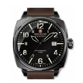 Swiss Military Hanowa Aeronautica Mens Watch with Black Dial and Brown Strap