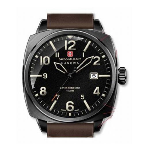 Swiss Military Hanowa Aeronautica Mens Watch with Black Dial and Brown Strap
