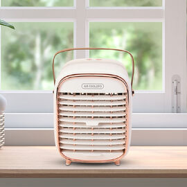 Retro Portable Cordless Air Cooling Fan with Mist Spray (Size 15x14.5x18cm) - White