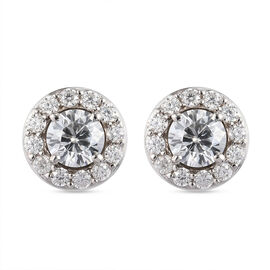 Moissanite Solitaire Stud Push Post Earring in Platinum Overlay Sterling Silver 1.08 Ct.