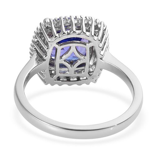 RHAPSODY 950 Platinum AAAA Tanzanite (Cush 8x8 mm), Diamond (VS/E-F) Ring 3.00 Ct.