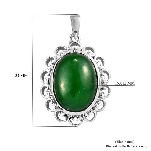 Green Jade (Ovl 16x12 mm) Pendant in Platinum Overlay Sterling Silver 11.00 Ct.