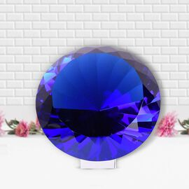 TJC Exclusive Diamond Cut Tanzanite  Glass Crystal with Stand (20cms) in a Gift Box-blue